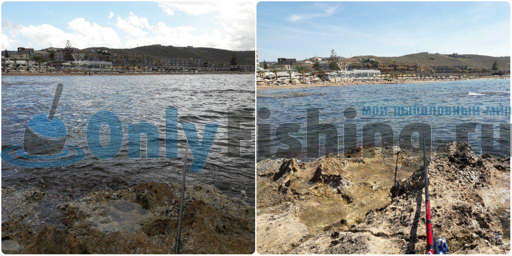пасмурный и солнечный день на рыбалке на Крите